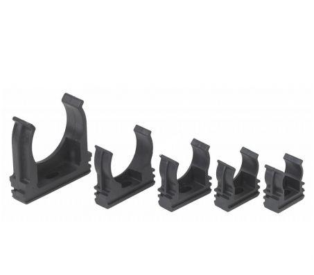 Крепёж-клипсы для труб чёрные (пластик)