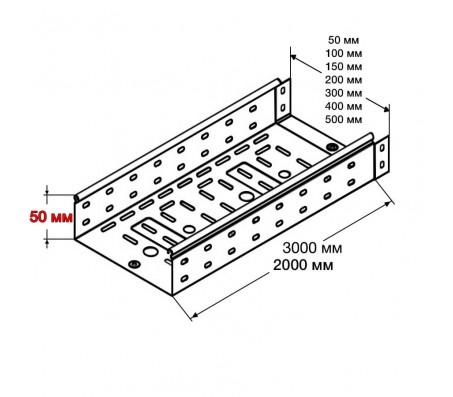Лоток перфорированный МЛП (H=50 мм)